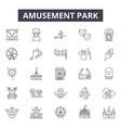 amusement park line icons signs set vector image vector image