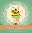 birthday card with cake currant and ribbon vector image vector image