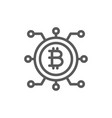 bitcoin coin with closed contacts blockchain line vector image vector image