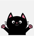 black cat ready for a hugging open hand pink paw vector image vector image