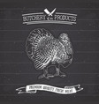butcher shop vintage emblem turkey meat products vector image