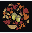 card with autumn leaves and acorn vector image vector image