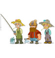 cartoon fisherman farmer lumberjack characters set vector image vector image