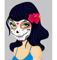 Cartoon girl in dead mask makeup vector image vector image