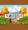 cartoon happy family in the front yard of the hous vector image