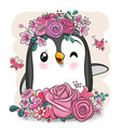 cartoon penguin with flowers on a white background vector image vector image