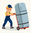 cartoon porter transporting fridge by cart poster vector image