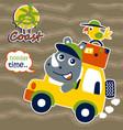 cartoon rhino with little bird on car vector image vector image
