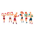 cartoon stylized althlete boxer woman man vector image vector image