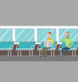 caucasian people traveling by public transport vector image vector image