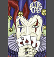 colorful engraved card with joker vector image