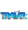 cruise and travel text sign vector image vector image