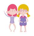cute little girls happy friends cartoon characters vector image vector image