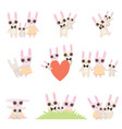 family bunnies set father mother and baby vector image vector image