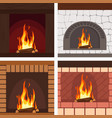 fireplaces wooden and stone decoration set vector image vector image