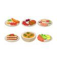 flat set appetizing dishes plates vector image