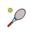 flat sketch tennis ball racquet isolated vector image