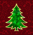 Glowing emerald christmas tree isolated on the red