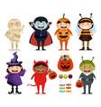 group of children dressed up in halloween vector image