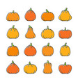halloween pumpkin line icon set vector image