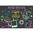 hand drawn chalk cameras vector image