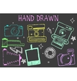 hand drawn chalk of cameras vector image