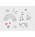 hand drawn doodle style elements isolated on vector image