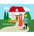 Happy family near house vector image vector image