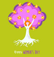 happy womens day spring tree of life girl concept vector image vector image