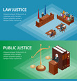 isometric law and justice concept law theme vector image vector image