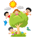 Kids playing on tree vector image