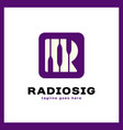 letter r logo - radio signal vector image vector image