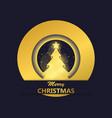 merry christmas greeting card christmas tree with vector image vector image