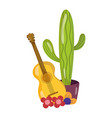 mexican independence day guitar flowers vector image vector image