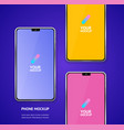 mobile phones mockups with camera front view vector image