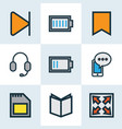 multimedia colorful outline icons set collection vector image vector image