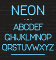 neon light alphabet glowing english letters vector image vector image