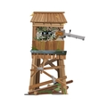 Observation tower with machine gunner vector image vector image