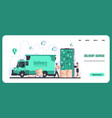 online delivery landing page food and goods vector image