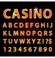 orange neon lamp letters font show casino vector image vector image