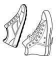 Pair right unisex black outlined sneakers shoes si vector image vector image