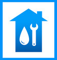 plumbing icon with water drop and wrench vector image vector image