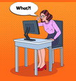 pop art weak-eyed woman working at the computer vector image vector image