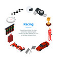racing sport banner card circle isometric view vector image vector image