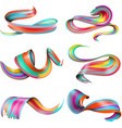 realistic colorful brush strokes set vector image
