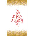 red christmas tree golden frame up and down hand vector image