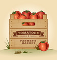 Retro crate of tomatoes vector image vector image