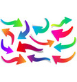 set of curly colorful arrows vector image