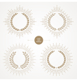 Set of laurel wreath with sunburst line rays vector image vector image