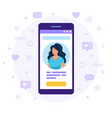 social media profile smartphone with a woman vector image
